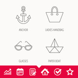 Paper boat, anchor and glasses icons. Ladies handbag linear sign. Edit document, Calendar and Graph chart signs. Star, Check and House web icons. Vector