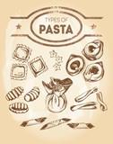 Different types of authentic Italian pasta - ravioli, stelline, tortellini, gnocchi, sacchettini, casarecce, garganelli. Hand drawn set. Vector illustration. - 164043045