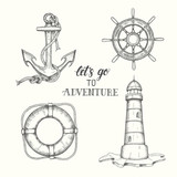 Set of hand drawn doodle vector anchor, lighthouse, lifebuoy and handwheel. Hand written lettering