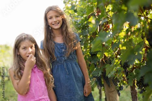 Happy little girls in vineyard