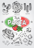 Different types of authentic Italian pasta. Hand drawn set. Vector illustration in vintage style. Menu or signboard template for restaurant. - 164044217