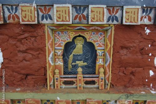 Poster Buddhist images and decor at Punakha Dzong, Bhutan