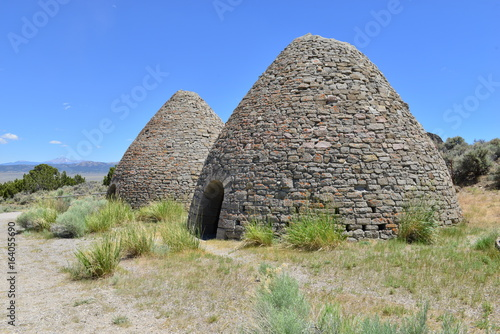 Charcoal ovens used for creating charcoal for the smelting of ore in Nevada in the early 20th century Poster