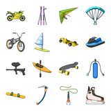 Motorcycle racing, downhill skiing, jumping, parachuting and other sports. Extreme sports set collection icons in cartoon style vector symbol stock illustration web.