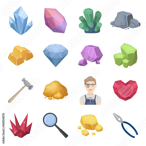 Precious minerals and jeweler set icons in cartoon style. Big collection of precious minerals and jeweler vector symbol stock illustration © pandavector