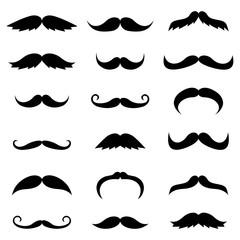 Black vector mustache silhouettes