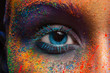 Leinwandbild Motiv Eye of model with colorful art make-up, close-up