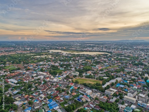 Plagát Top view from drone camera : Sunset time on city scape,  Beautiful city at twilight sky clouds, Khonkaen Thailand