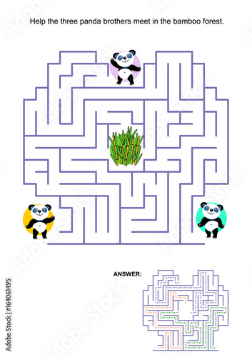 Fototapeta Maze game for kids: Help the three panda bear brothers to meet in the bamboo forest in the middle of the maze. Answer included.