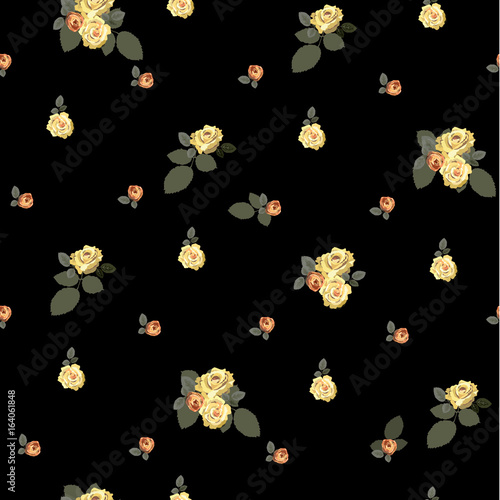 Floral seamless vintage pattern. Background for textile, manufacturing, book covers, wallpapers, print or gift wrap. Little buds of yellow and pink roses with leaves on a black background. Vector. - 164061848