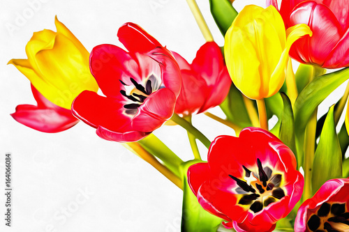 digital-painting-of-fresh-tulip-flowers-in-a-colorful-spring-bouquet-on-a-white-background