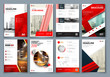Brochure design. Red Corporate business template for brochure, report, catalog, magazine, book, booklet. Layout with modern triangle elements and abstract background. Creative vector concept