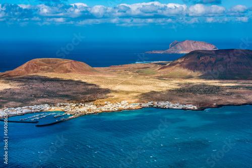 Islands of La Graciosa and Montana Clara off the northern coast of Lanzarote, Canary Islands, Spain