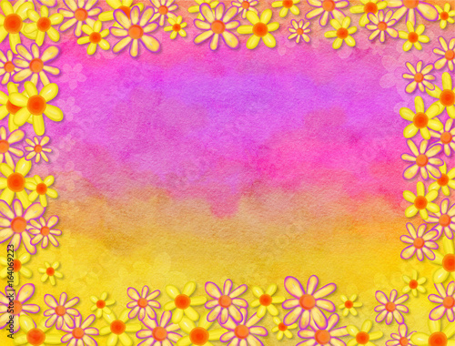 Watercolour Floral Border Decoration