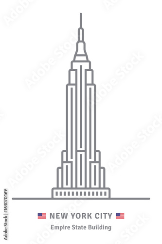 New York City icon with Empire State building and US flag