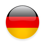 Round glossy icon with national flag of Germany on white background - 164072456