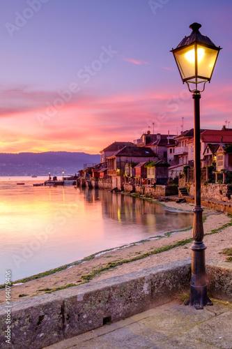 town of Combarro at sunrise, Pontevedra, Galicia, Spain. Poster