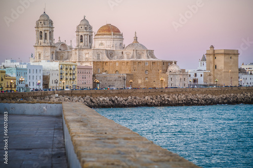 Sunset over the beautiful Cathedral of Cadiz, Andalusia, Spain