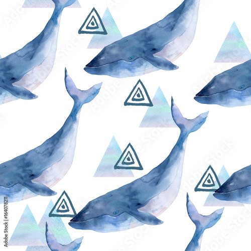 Watercolor seamless pattern with whale  and geometrical marble elements on white background