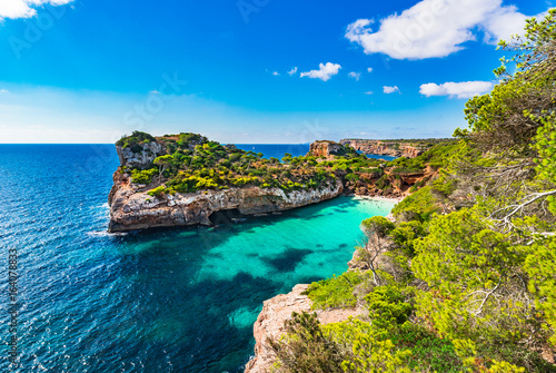 Keuken foto achterwand Noord Europa Idyllic bay beach of Calo des Moro, Majorca Spain beautiful coastline, Mediterranean Sea, Balearic Islands