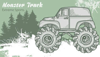 Sketch Monster Truck on the graphic forest landscape. Retro vector illustration. Extreme Sports. Adventure, travel, outdoors art symbols. Off Road.