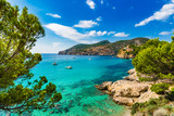 Idyllic sea view scenery of bay with boats on Majorca Island - 164081299