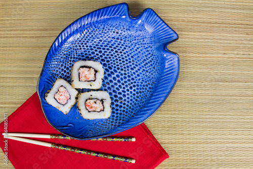Sushi on a fish shaped plate