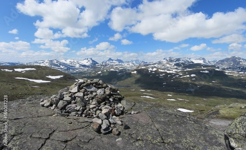 Panorama of Jotunheimen mountain range in Norway.