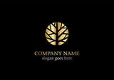 gold tree abstract nature logo