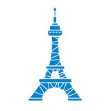 Eiffel tower vector icon isolated.
