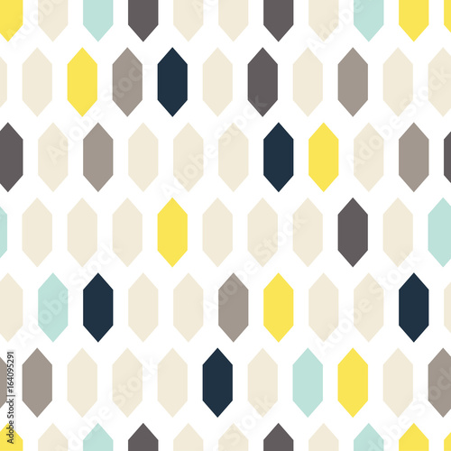 mata magnetyczna Mosaic tiles ornament seamless vector pattern. Gray and yellow geometric abstract repeat background.
