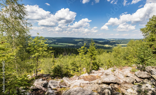 Summer landscape with blue sky from stony viewpoint