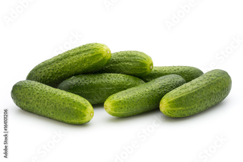 Eco cucumber on white background. Fresh vegetables.