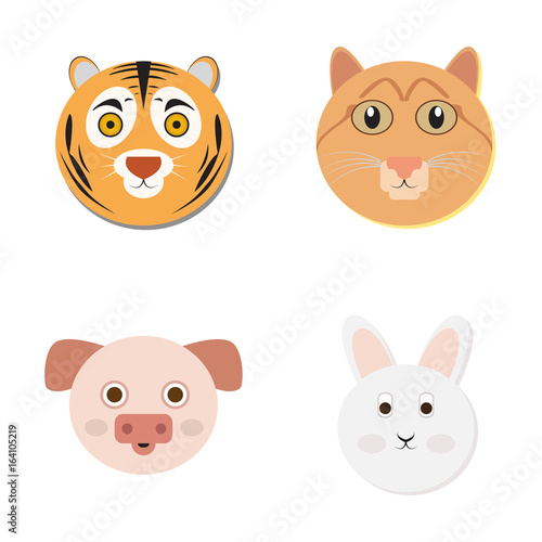 Poster Pony Set of cute animal faces, Vector illustration