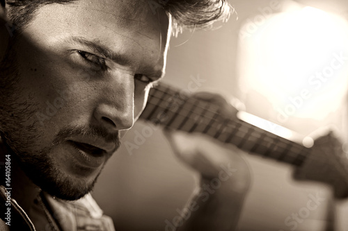Closeup portrait of a handsome musician