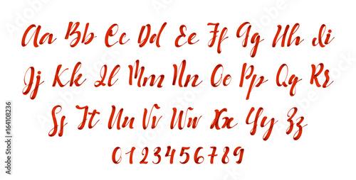 Latin alphabet red. Letter font style ribbon