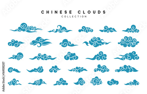 Collection of blue clouds in Chinese style. © lauritta