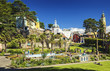 Tourists at Central Piazza of Portmeirion Village in North Wales, UK