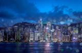 Hong Kong city view at night with circle light background