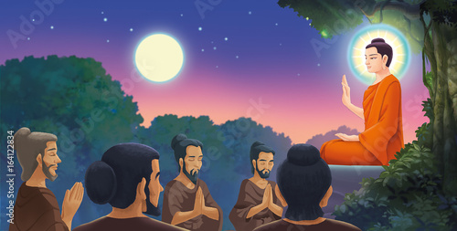 Foto Spatwand Boeddha Illustration - The Buddha have the first preaching.
