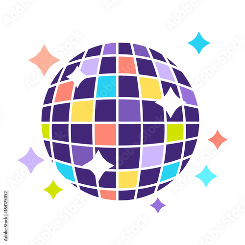 Naklejka Night club disco ball with sparkling lights party vector flat icon