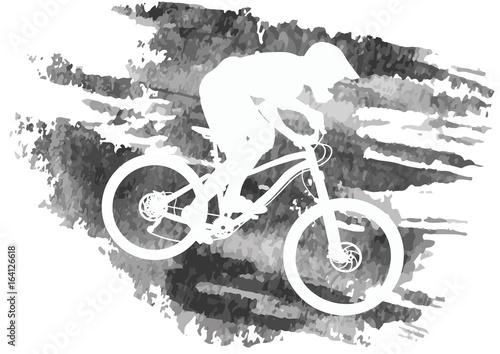 Sylwetka rowerzysty jazda na rowerze górskim