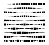 Lines made of square dots. For brushes, decorative elements, dividing lines. Vector illustration.	 - 164133239