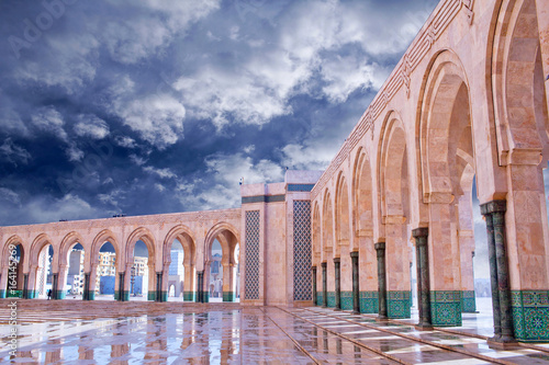Arcade gallery of Hassan II Mosque in Casablanca, Morocco, Africa