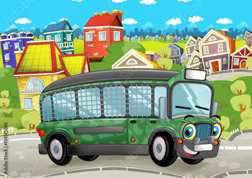happy and funny cartoon military bus looking and smiling driving through the city - illustration for children - 164145666