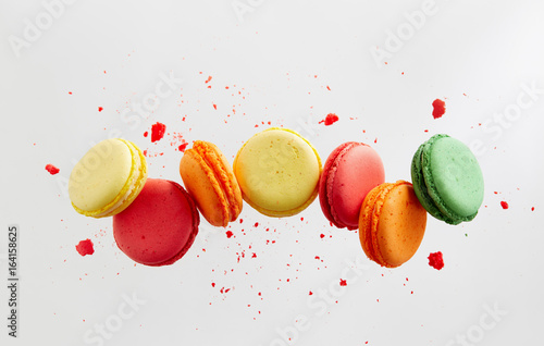 Foto op Canvas Macarons Colorful macarons cakes. Small French cakes.