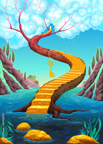 The golden stair with key - 164160619