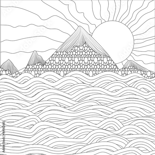 Staande foto Abstract wave Landscape with sea, mountains and sun on a white background. Vector illustration. Black and white sample. Page for coloring book. Doodle, Zentangle.