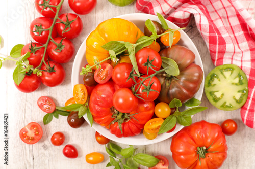 Poster variety of colorful tomatoes