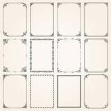 Fototapety Decorative frames and borders rectangle proportions set 5